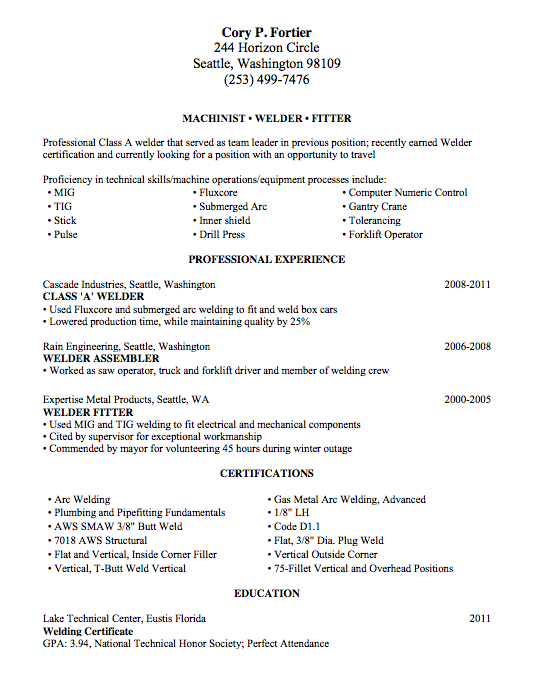 Welding Resume Sample