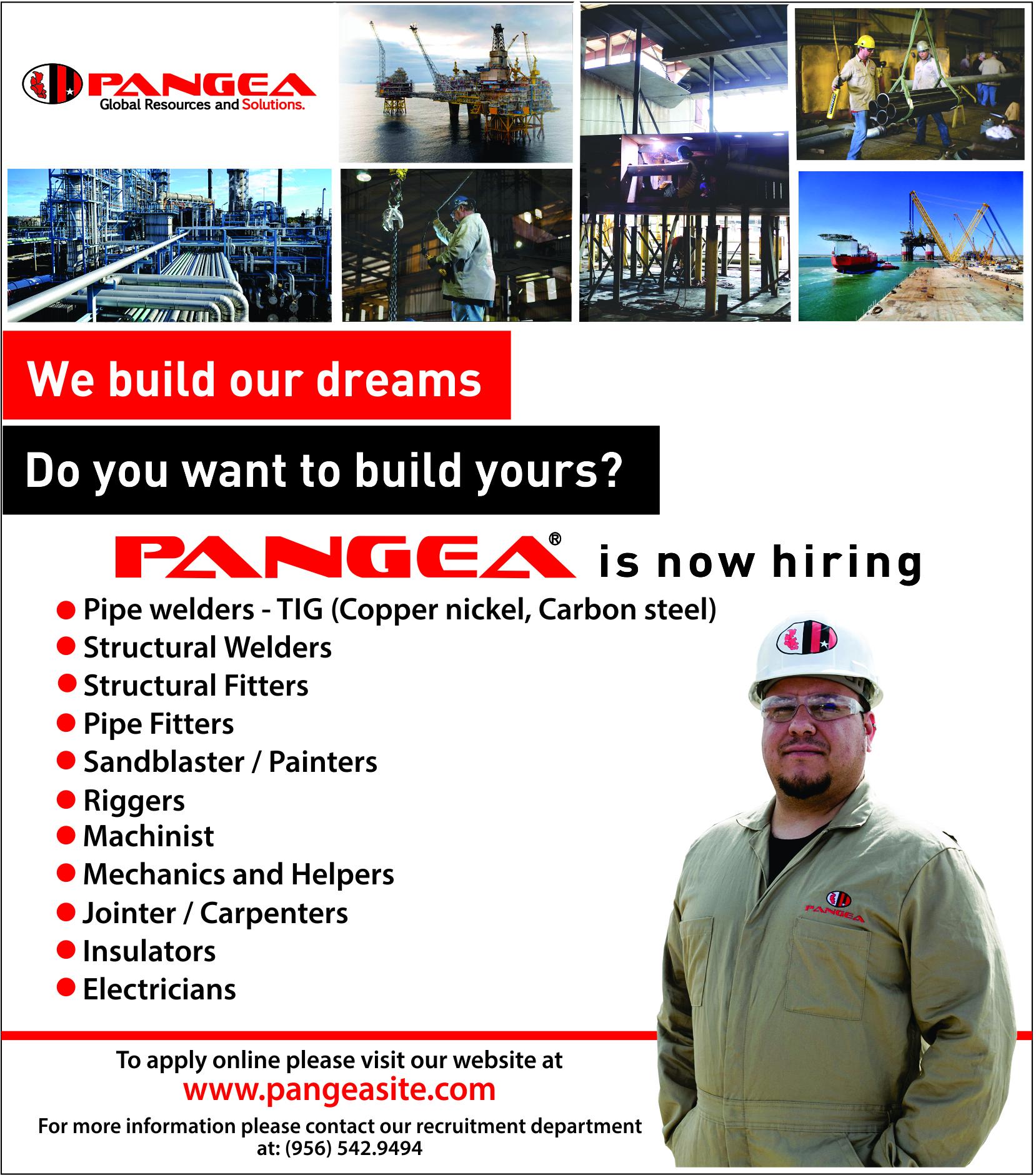 Pangea now Hiring Multiple Jobs