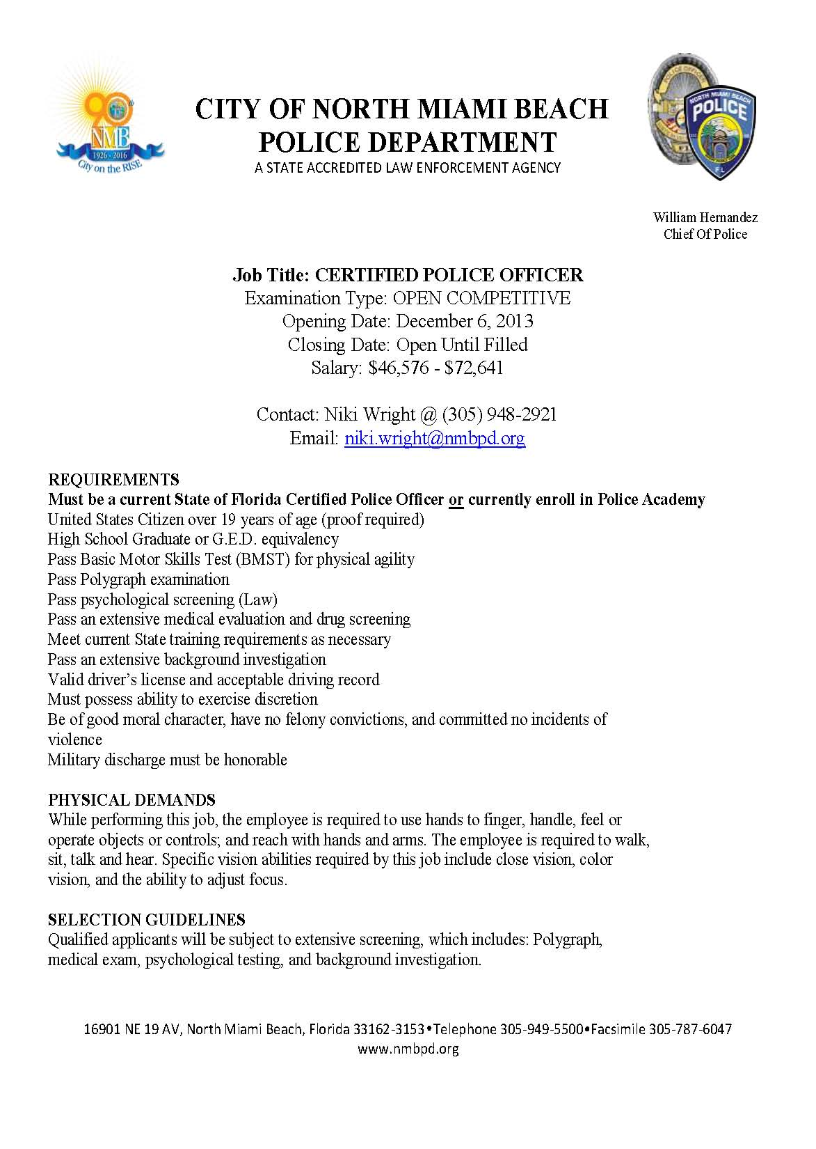 City Of North Miami Beach Pd Hiring Lake Tech S Career