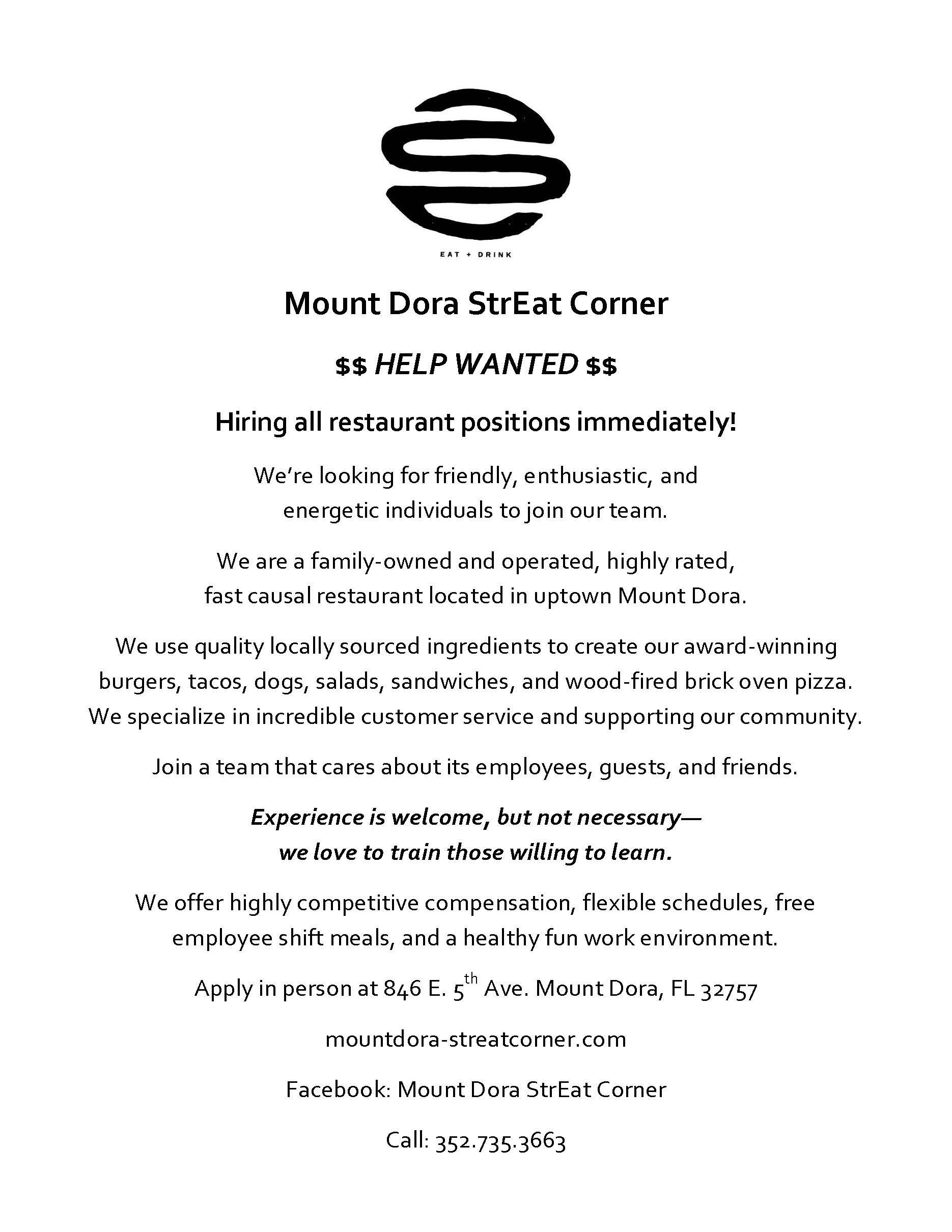 Mount Dora StrEat Corner Hiring