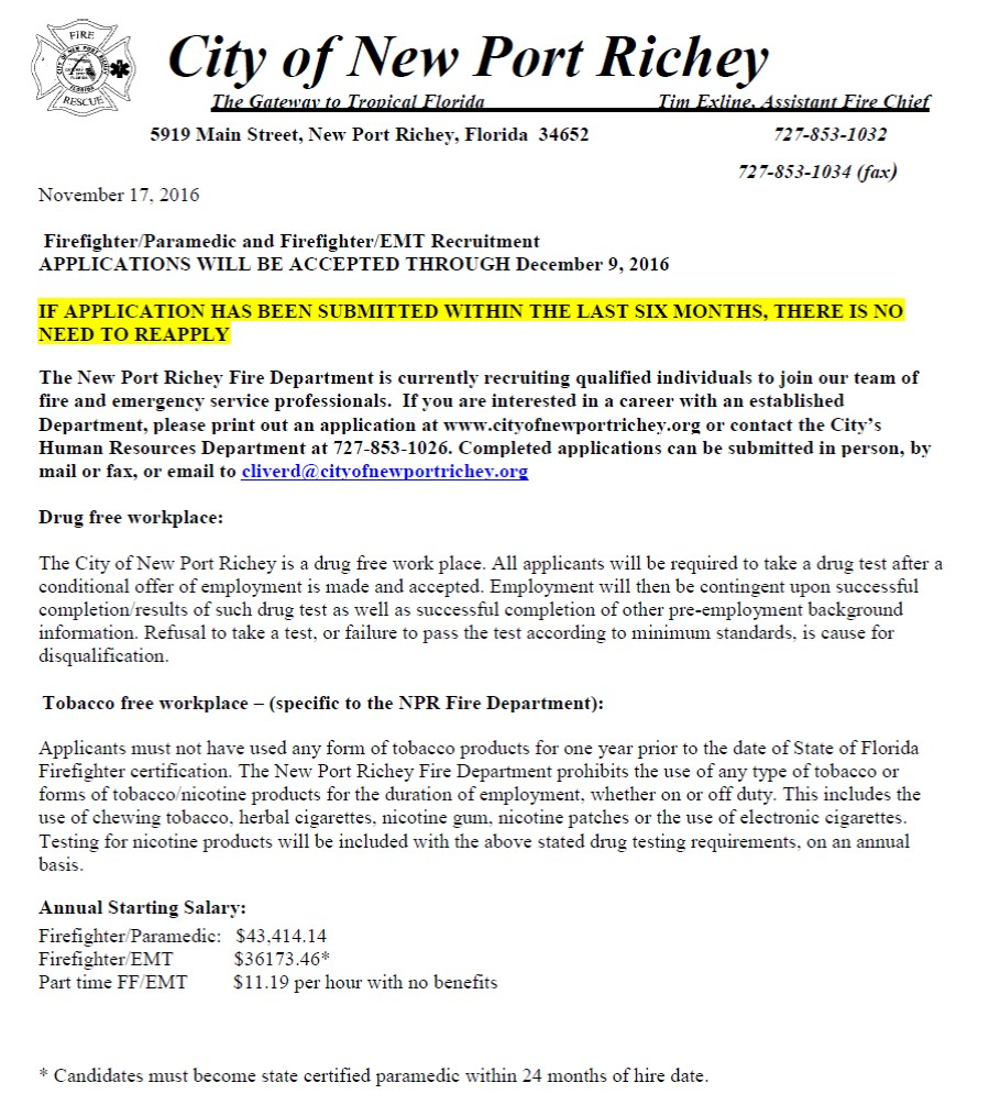 City of New Port Richey Hiring FF - Lake Tech's Career Center