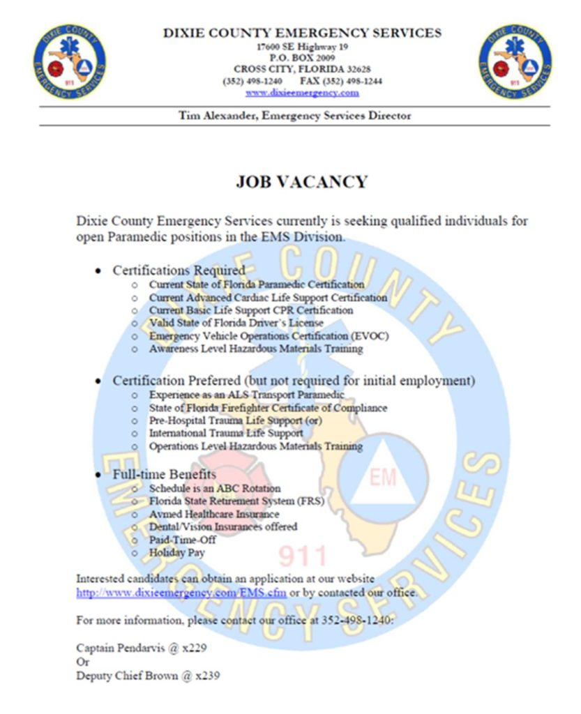 Dixie county hiring paramedic lake techs career center this entry was posted in health science bookmark the permalink xflitez Gallery