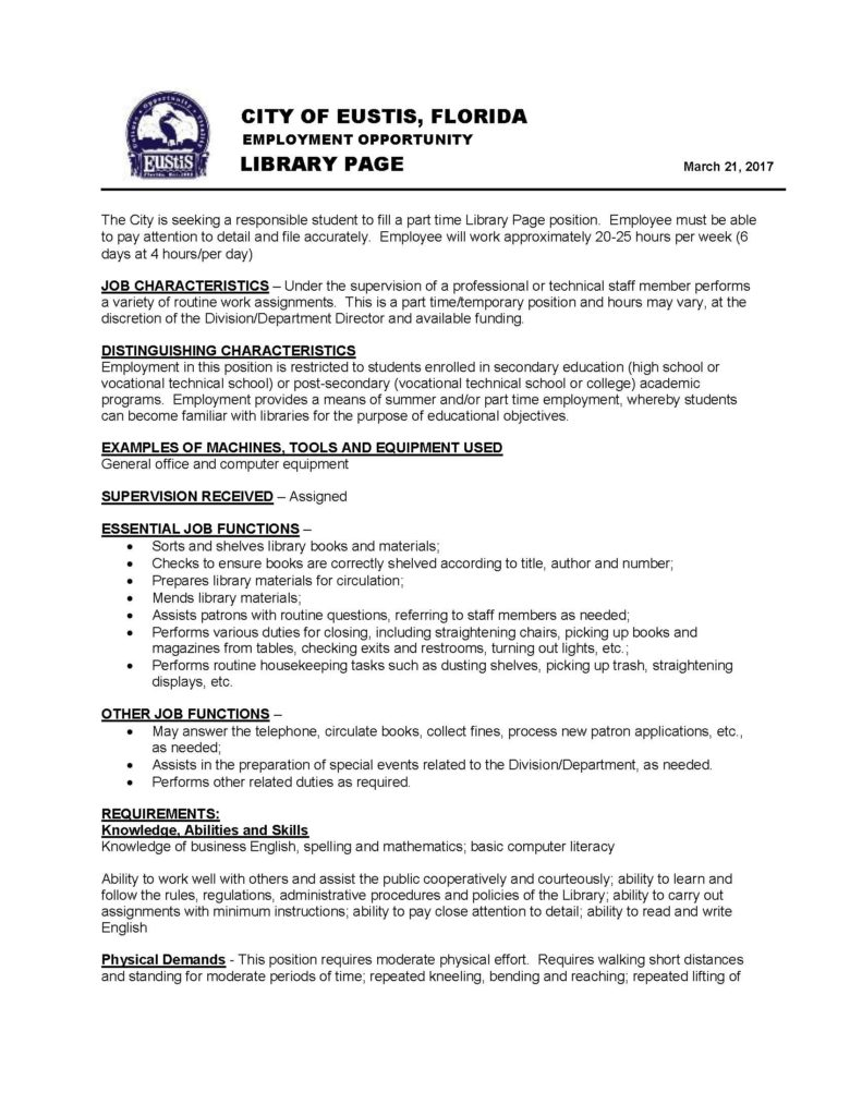 city of eustis hiring library page lake tech s career center this entry was posted in general employment opportunities bookmark the per nk