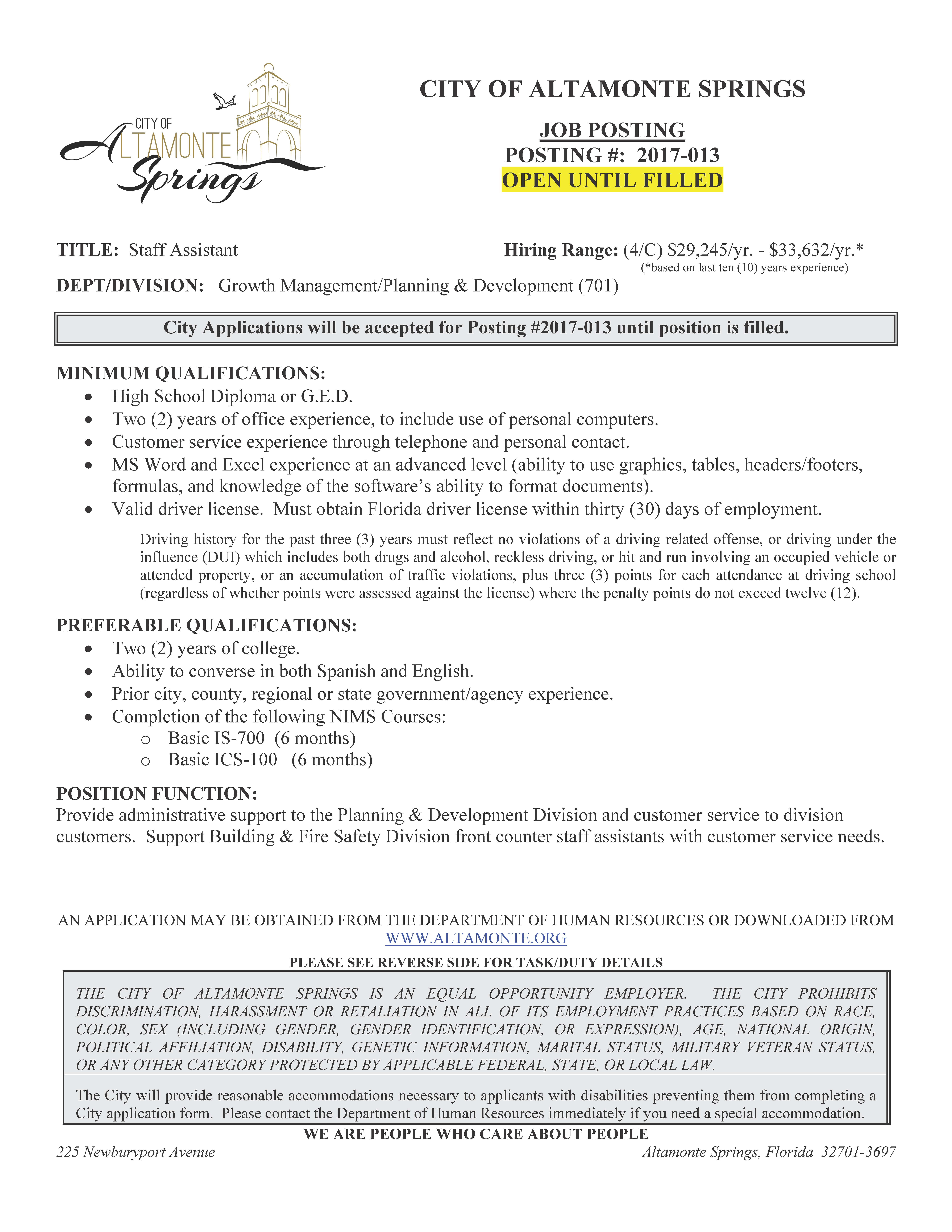 City of Altamonte Springs Hiring Staff Assistant