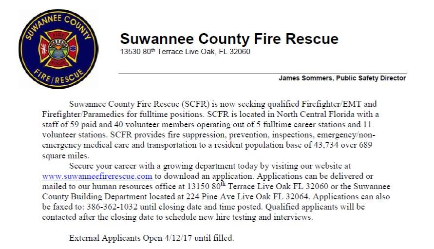 Suwannee County Fire Rescue Hiring
