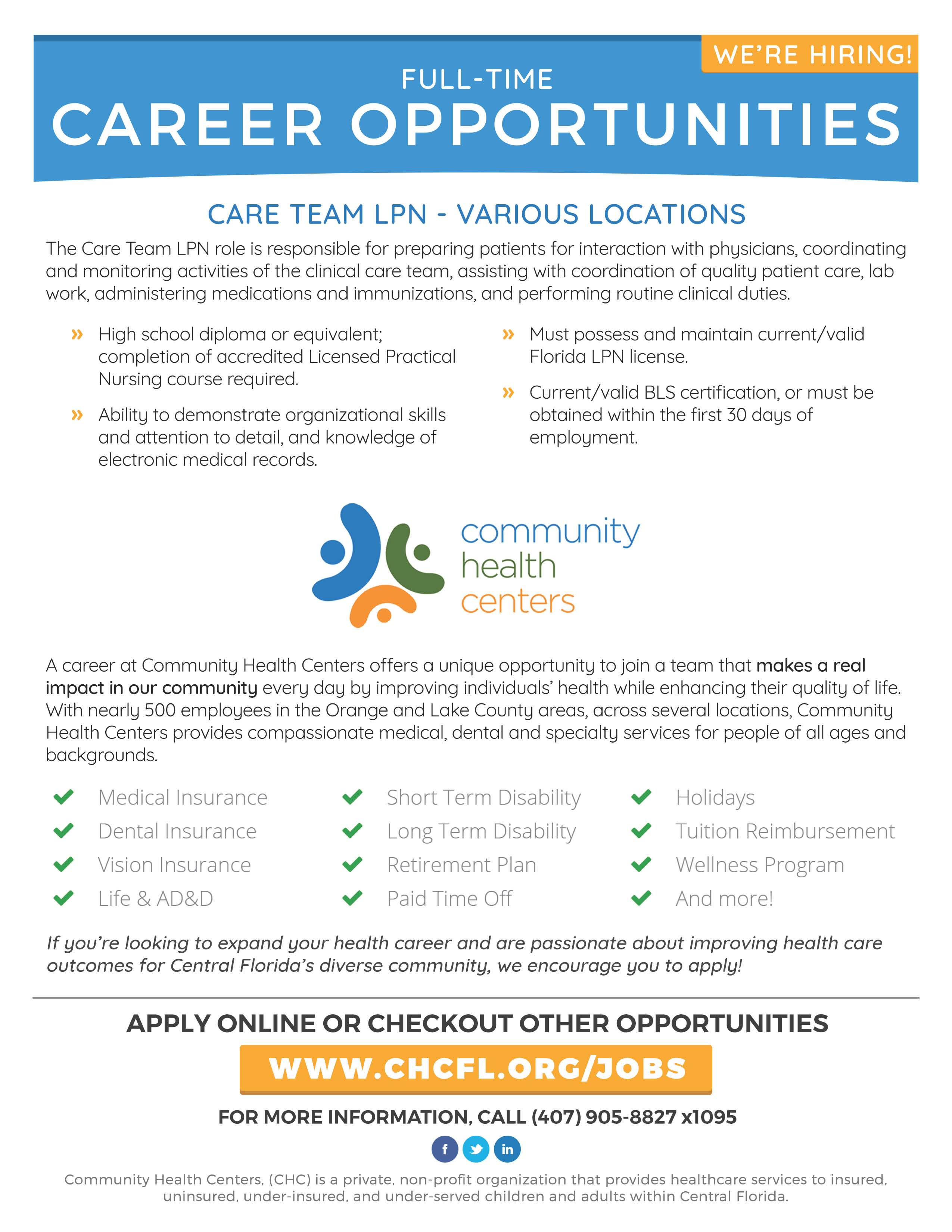Community Health Centers Hiring Lake Techs Career Center