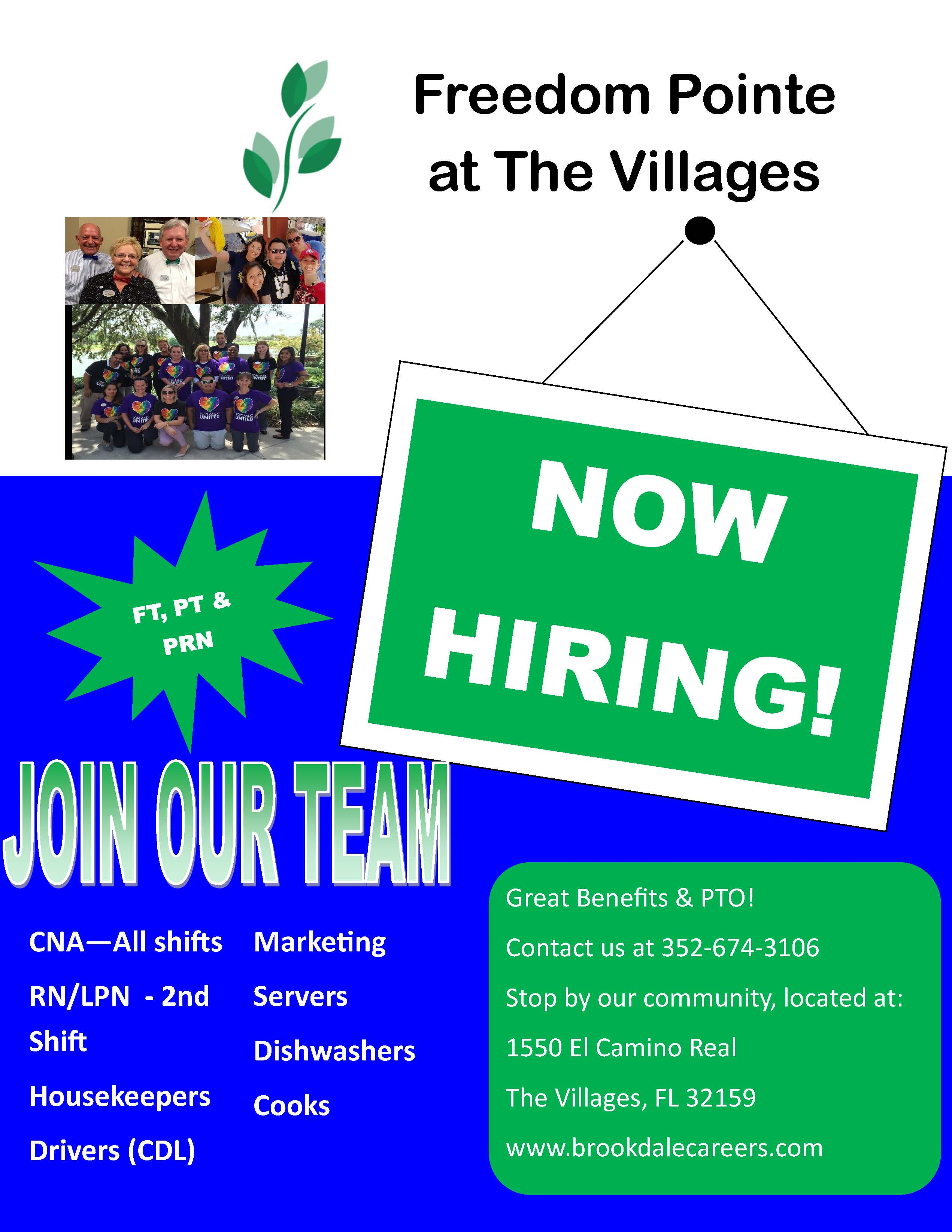 Freedom Pointe The Villages Hiring Multiple Positions