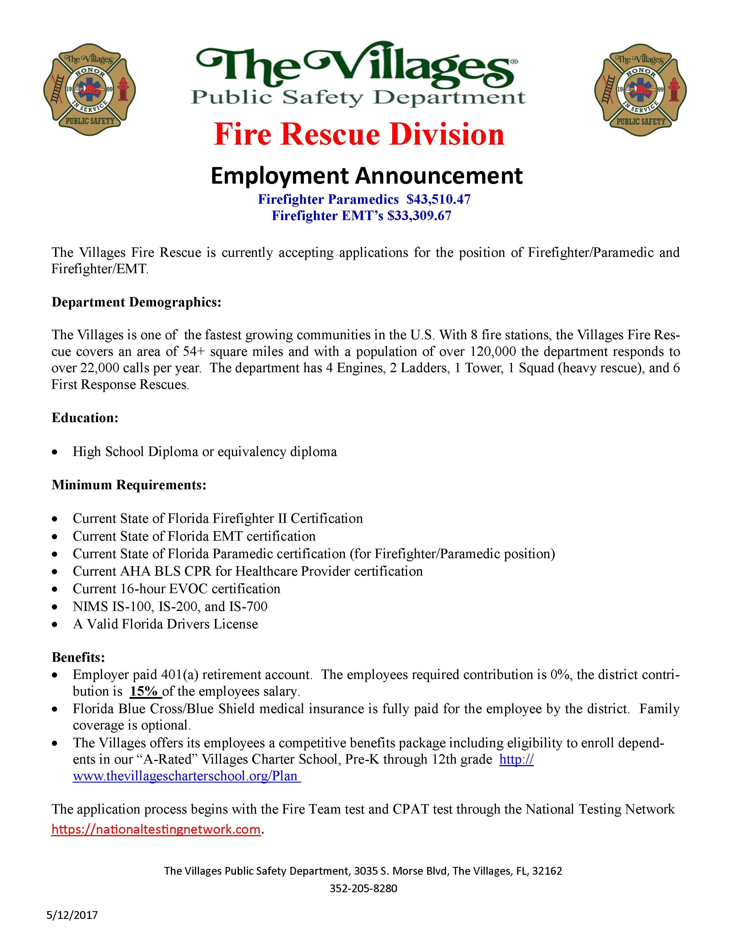 The villages fire rescue hiring ffparamedic ffemt lake the villages fire rescue hiring ffparamedic ffemt xflitez Images