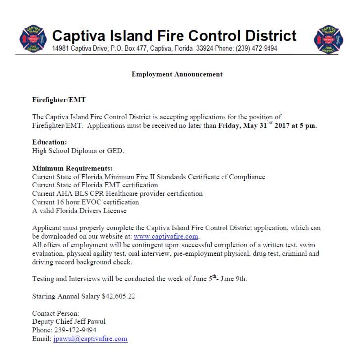 Captiva Island Fire Hiring Ffemt Lake Techs Career Center