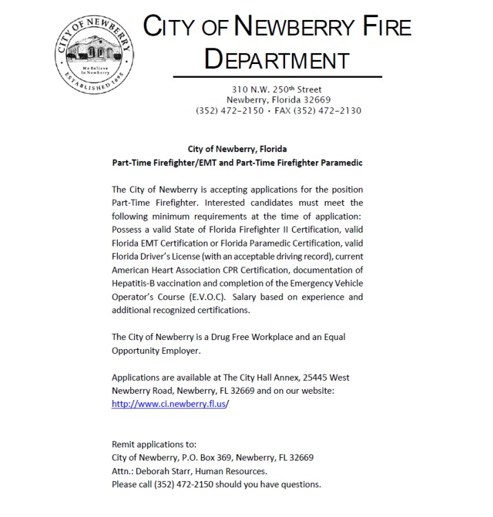 City Of Newberry Fd Hiring Pt Ff Emt Amp Ff Paramedic Lake