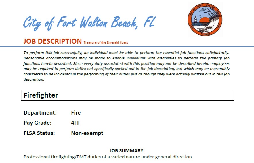 City of fort walton beach hiring ff lake tech 39 s career for Beach city motors fort walton beach fl