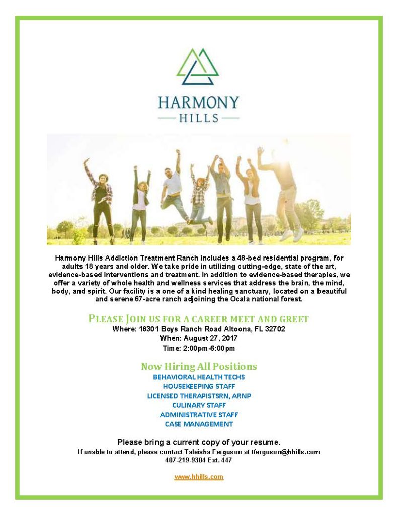 Harmony Hills Addiction Treatment Ranch Hiring Multiple