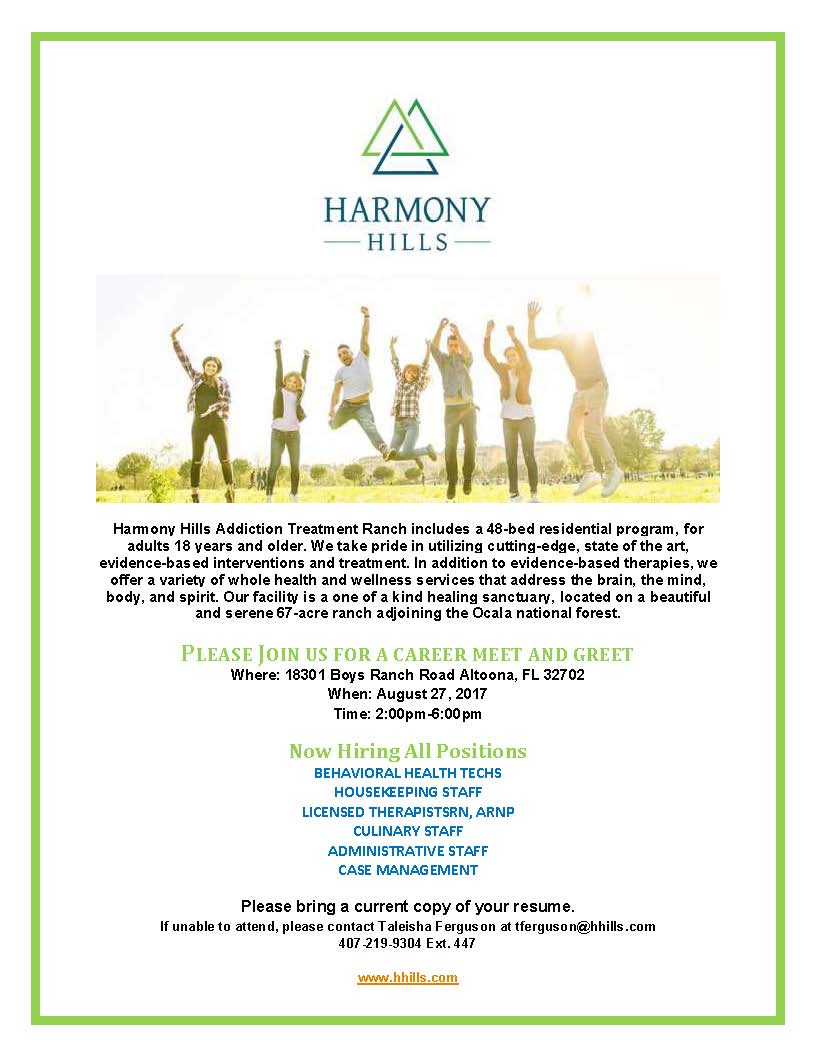 Harmony Hills Addiction Treatment Ranch Hiring Multiple Positions