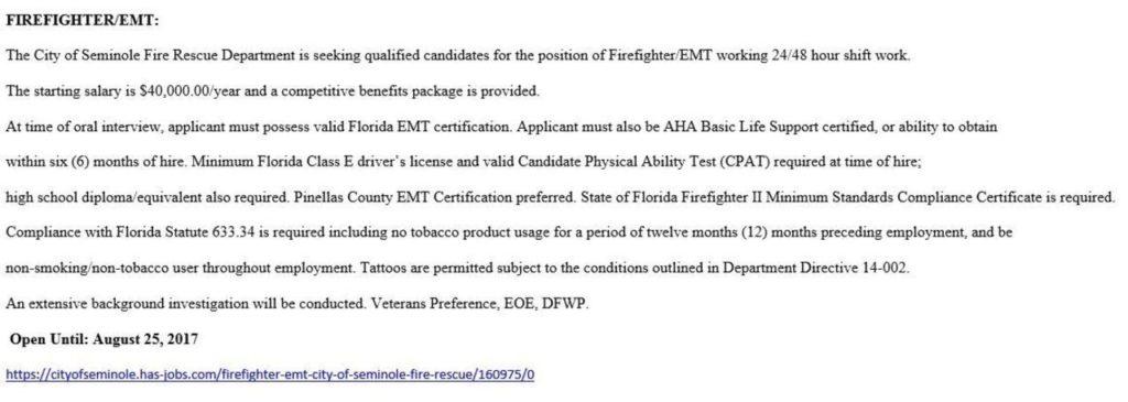 City of Seminole Fire Rescue Hiring FF/EMT - Lake Tech\'s Career Center