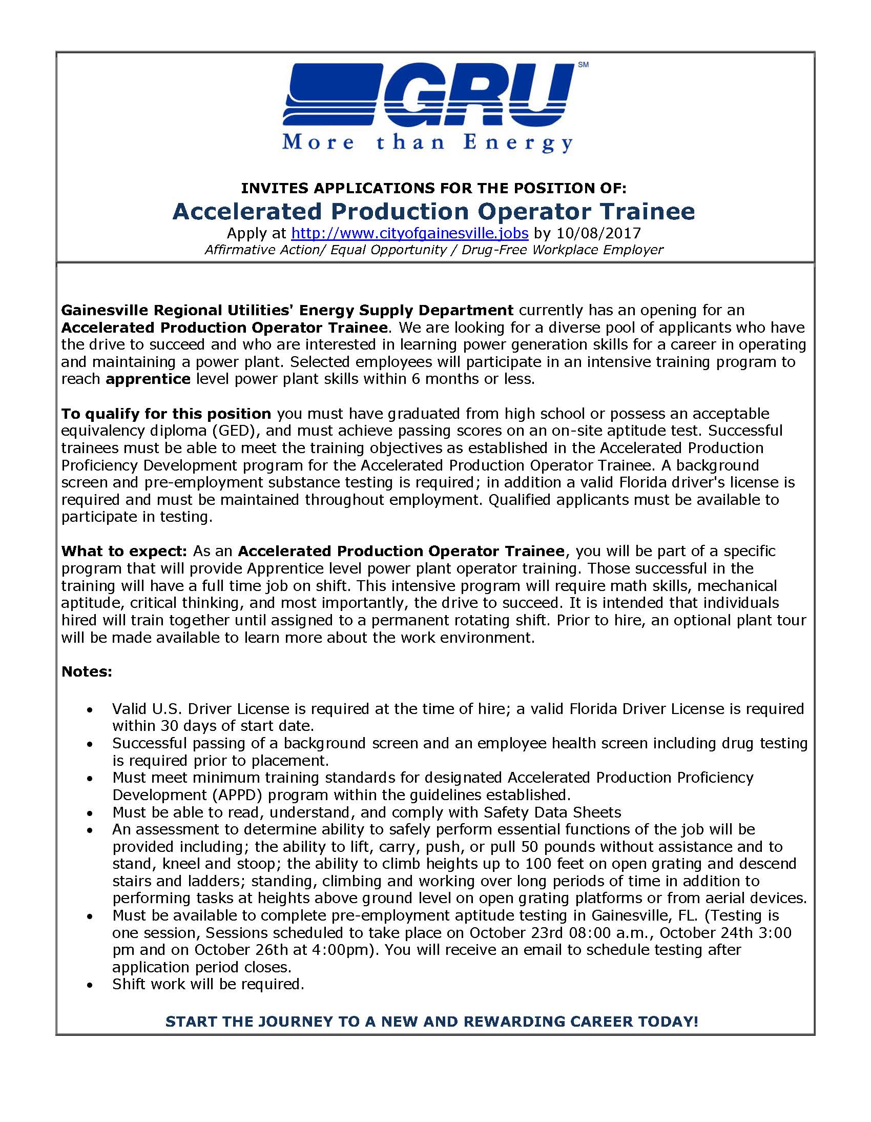 Accelerated Production Operator Trainee Wanted