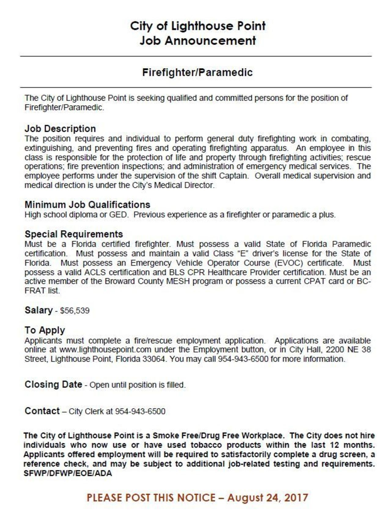 City of Lighthouse Point Hiring FF/Paramedic