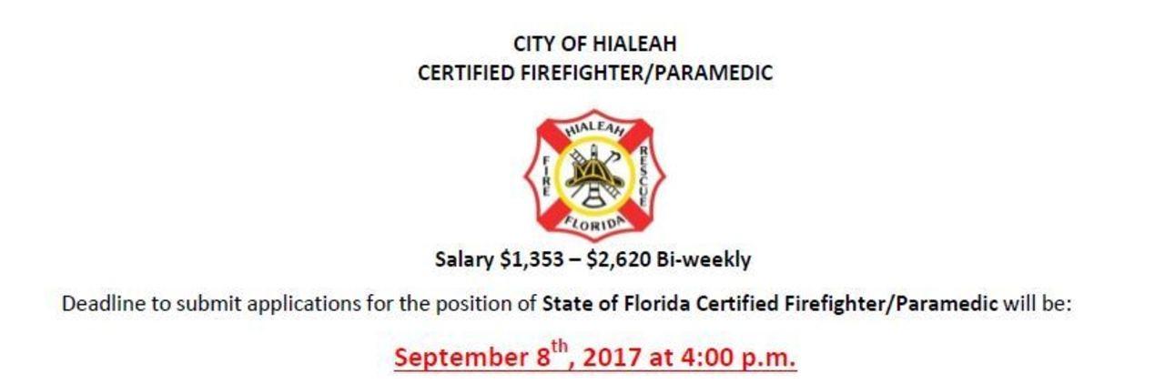 City of Hialeah Hiring FF/Paramedic