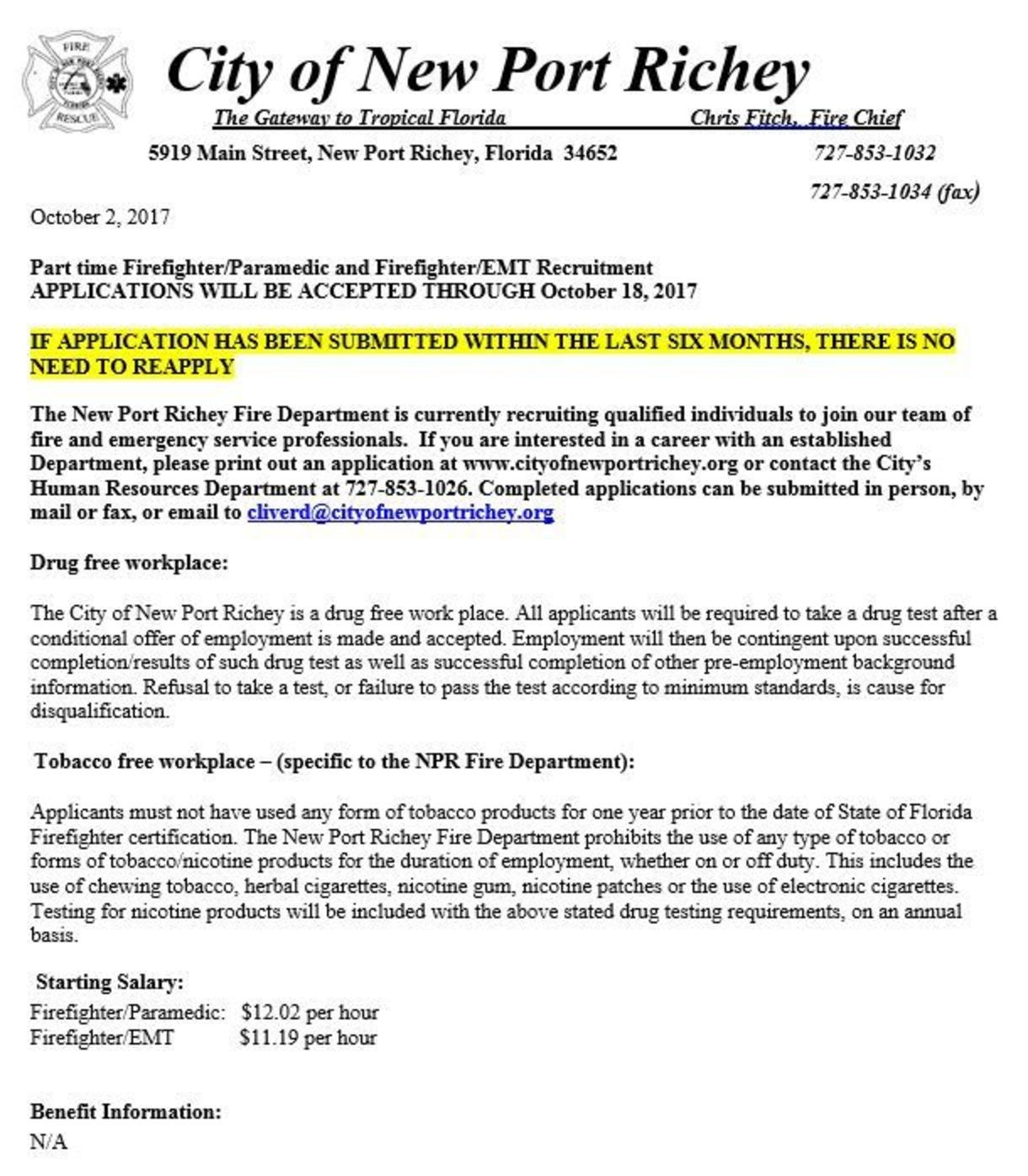 City of New Port Richey Hiring FF/EMT & FF/Paramedic