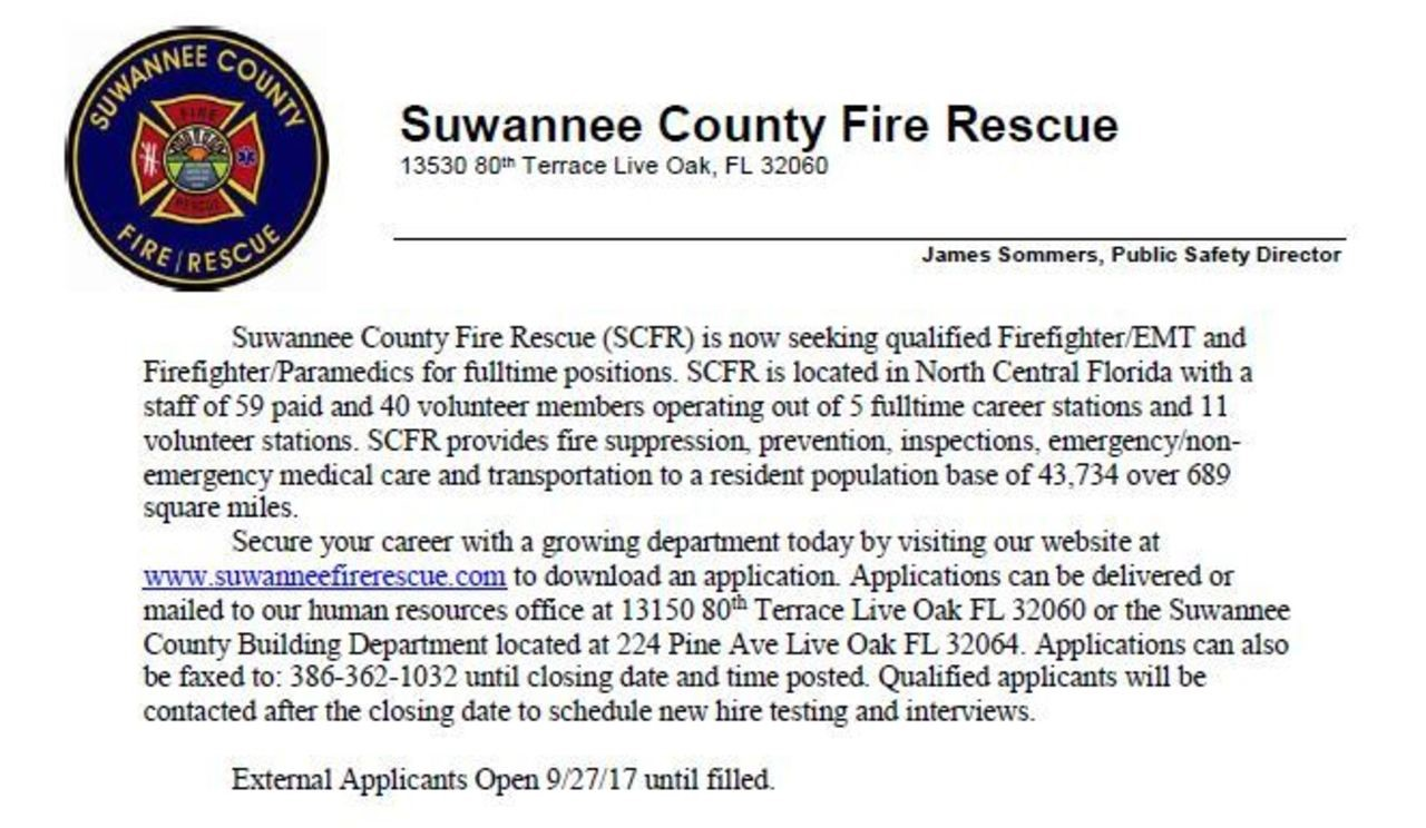 Suwannee County Fire Rescue Hiring
