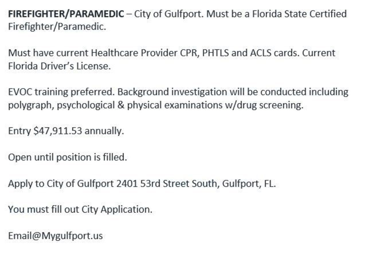 City of Gulfport Hiring FF/Paramedic