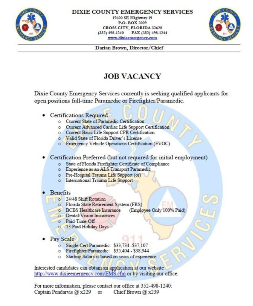 Dixie County Emergency Services Hiring Paramedic Or Ffmedic Lake