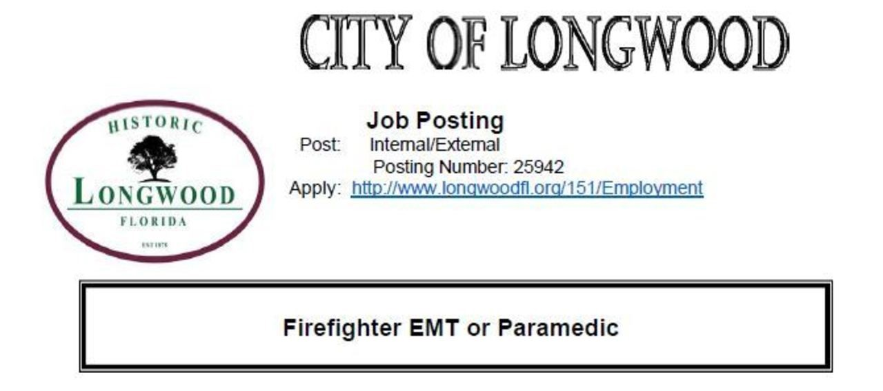 City of Longwood Hiring FF/EMT or Paramedic
