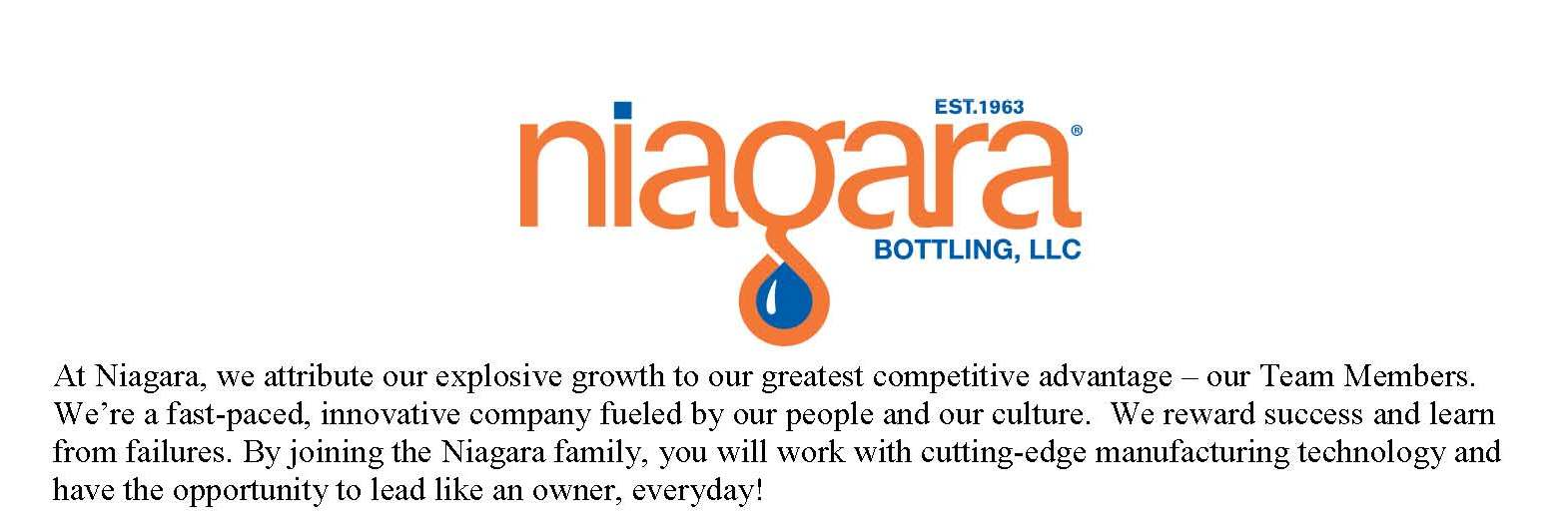 Niagara Bottling, LLC Hiring