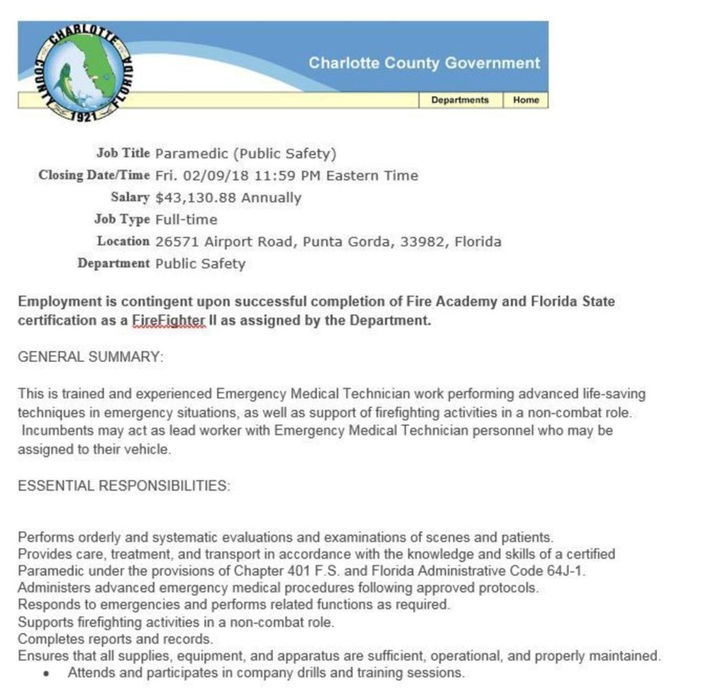 Charlotte County Government Hiring FF II - Lake Tech\'s Career Center