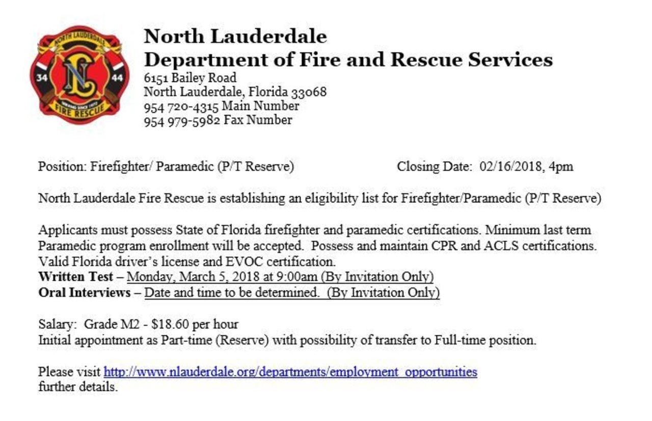 North Lauderdale Hiring FF/Paramedic