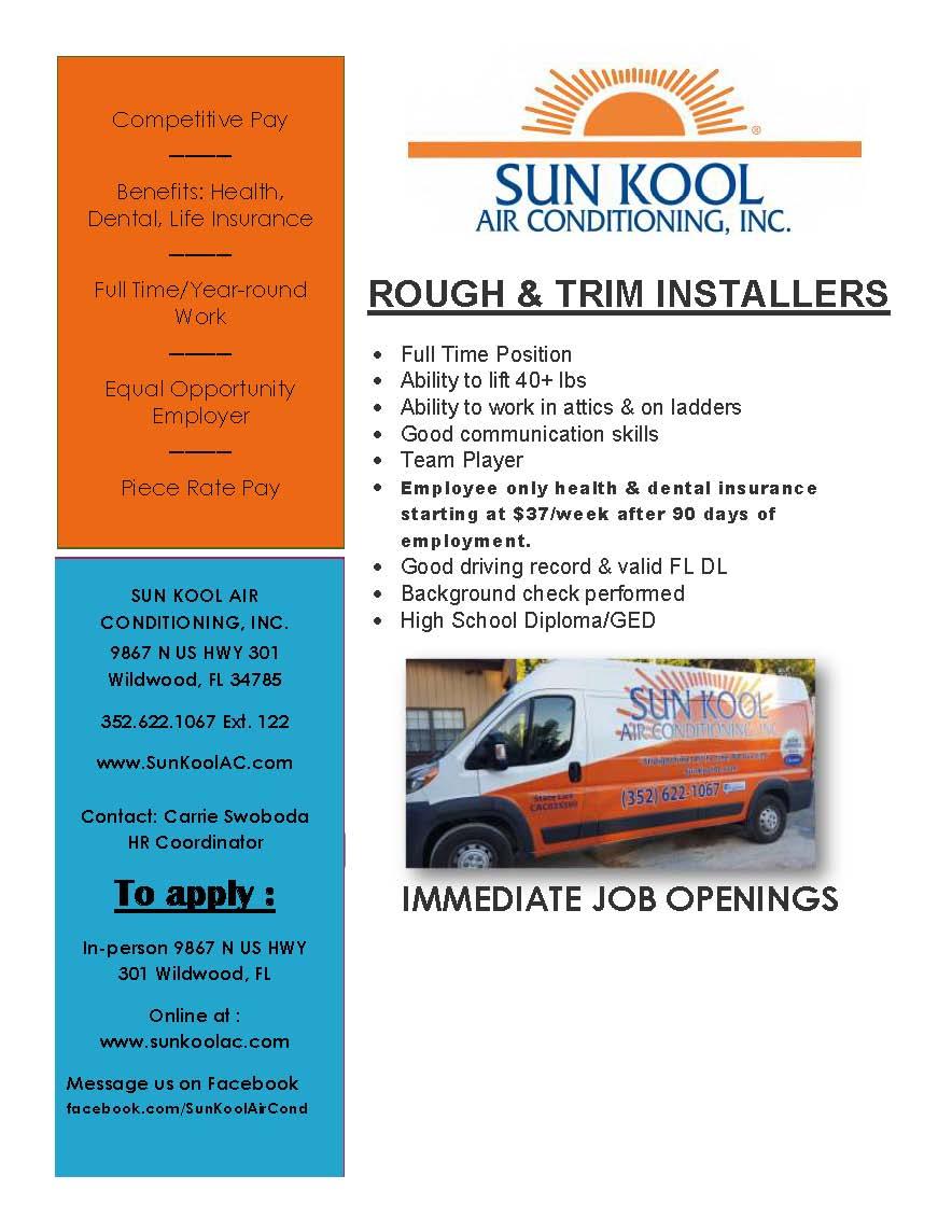 Sun Kool Air Conditioning, Inc. Hiring