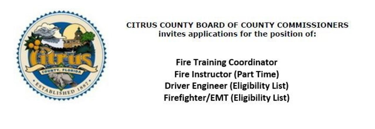 Citrus County Hiring Multiple FF positions
