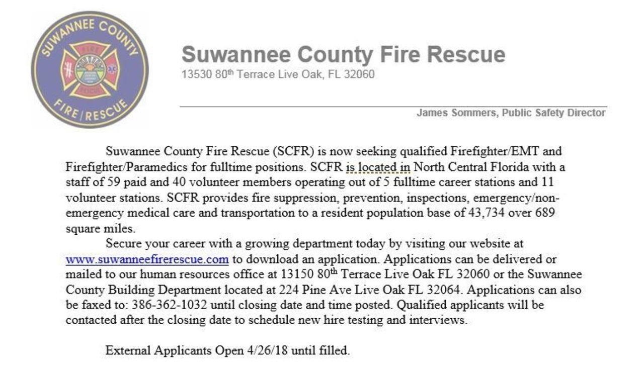 Suwannee Fire Rescue Hiring FF/EMT, FF/Paramedic
