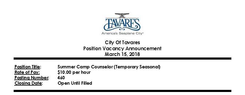 City of Tavares Hiring Multiple Positions