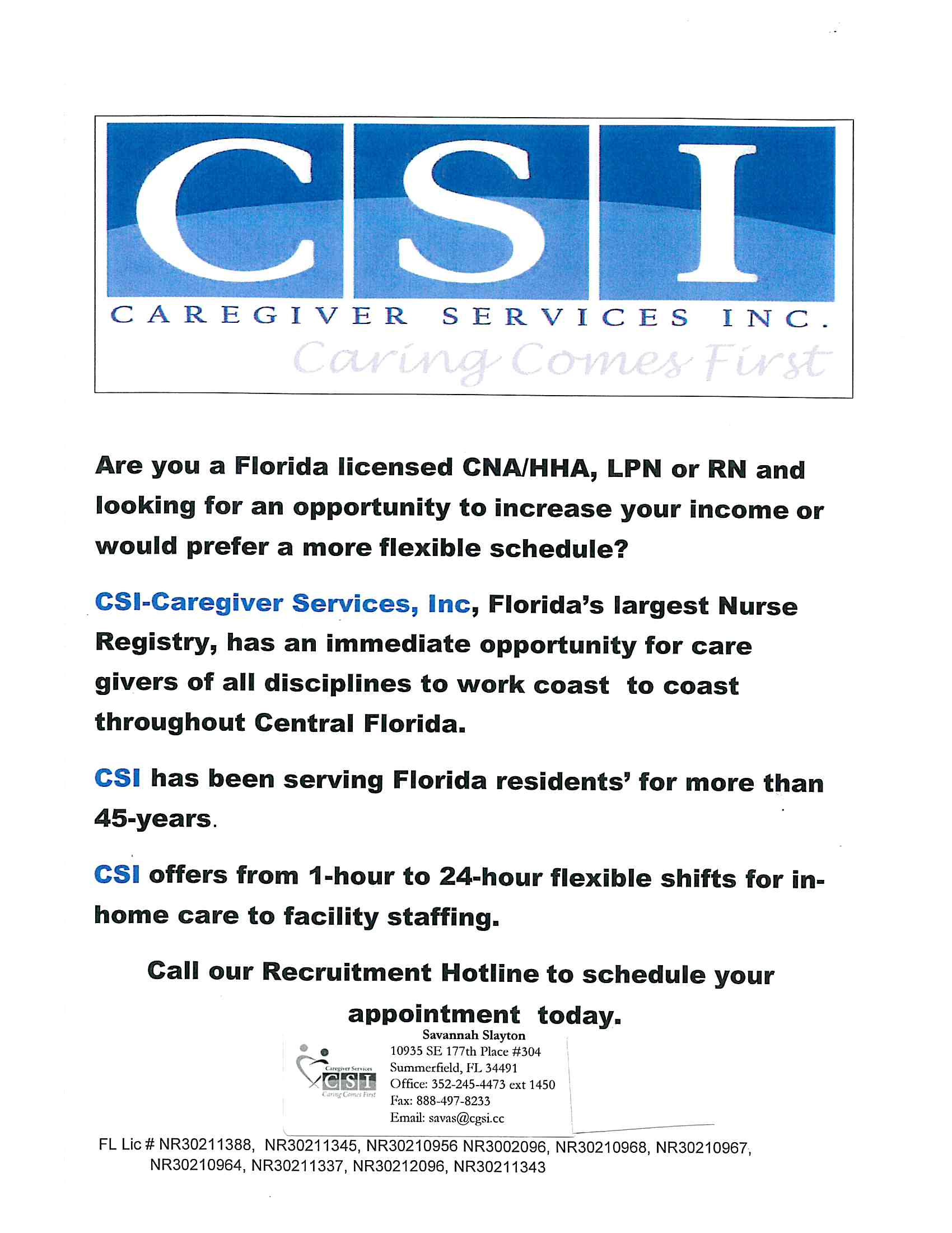 CSI-Caregiver Services, Inc. Hiring for CNA/HHA, LPN, RA