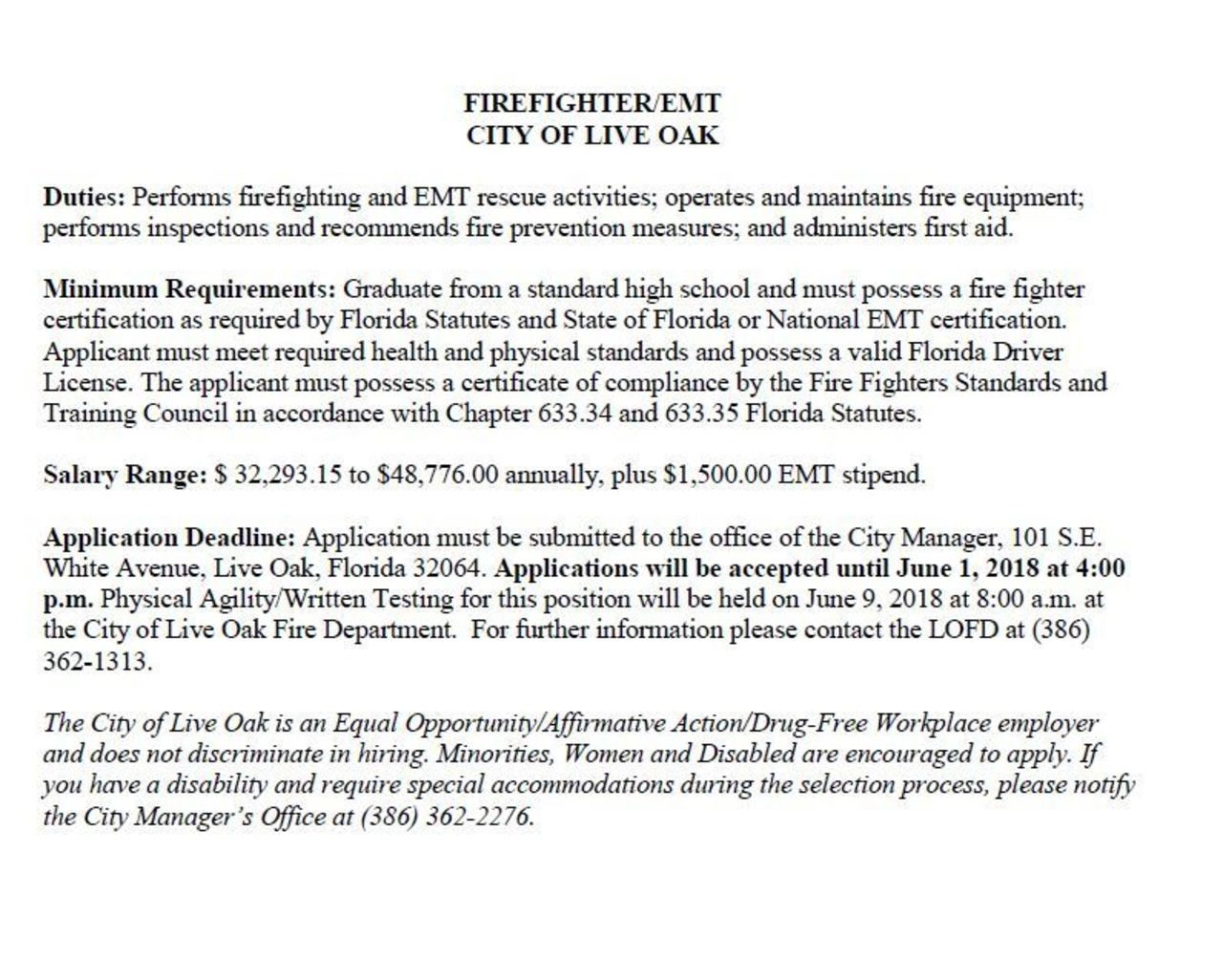 City of Live Oak Hiring Firefighter/EMT
