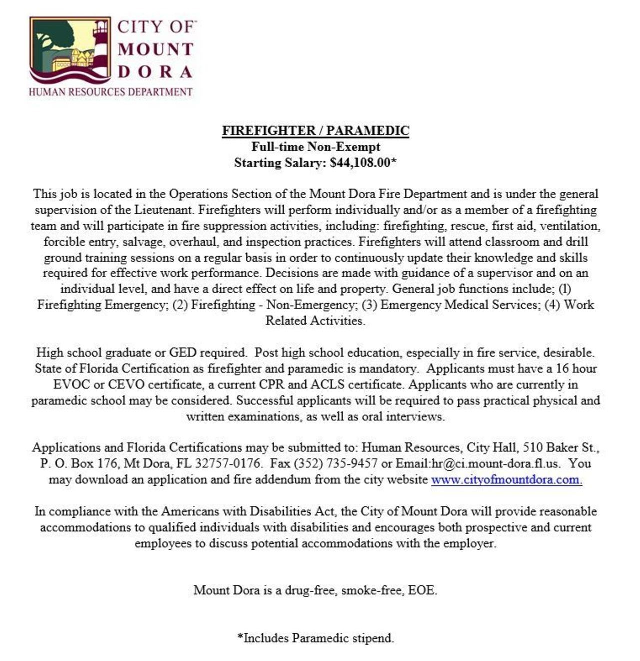 City of Mount Dora Hiring Firefighter/Paramedic