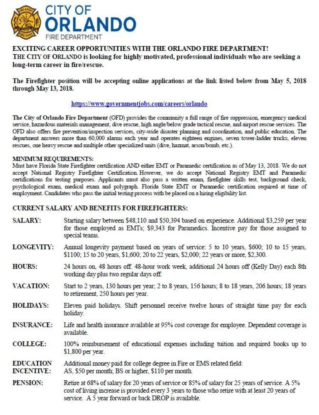 City of Orlando Hiring Firefighter