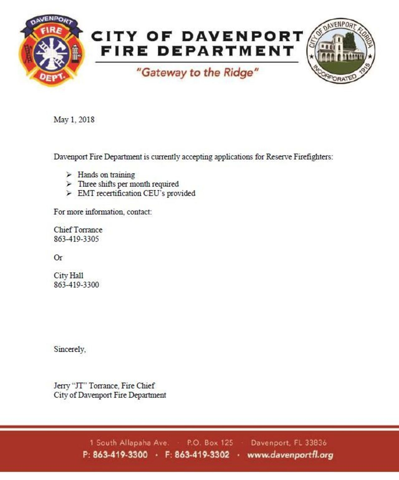 City of Davenport – Reserve Firefighters