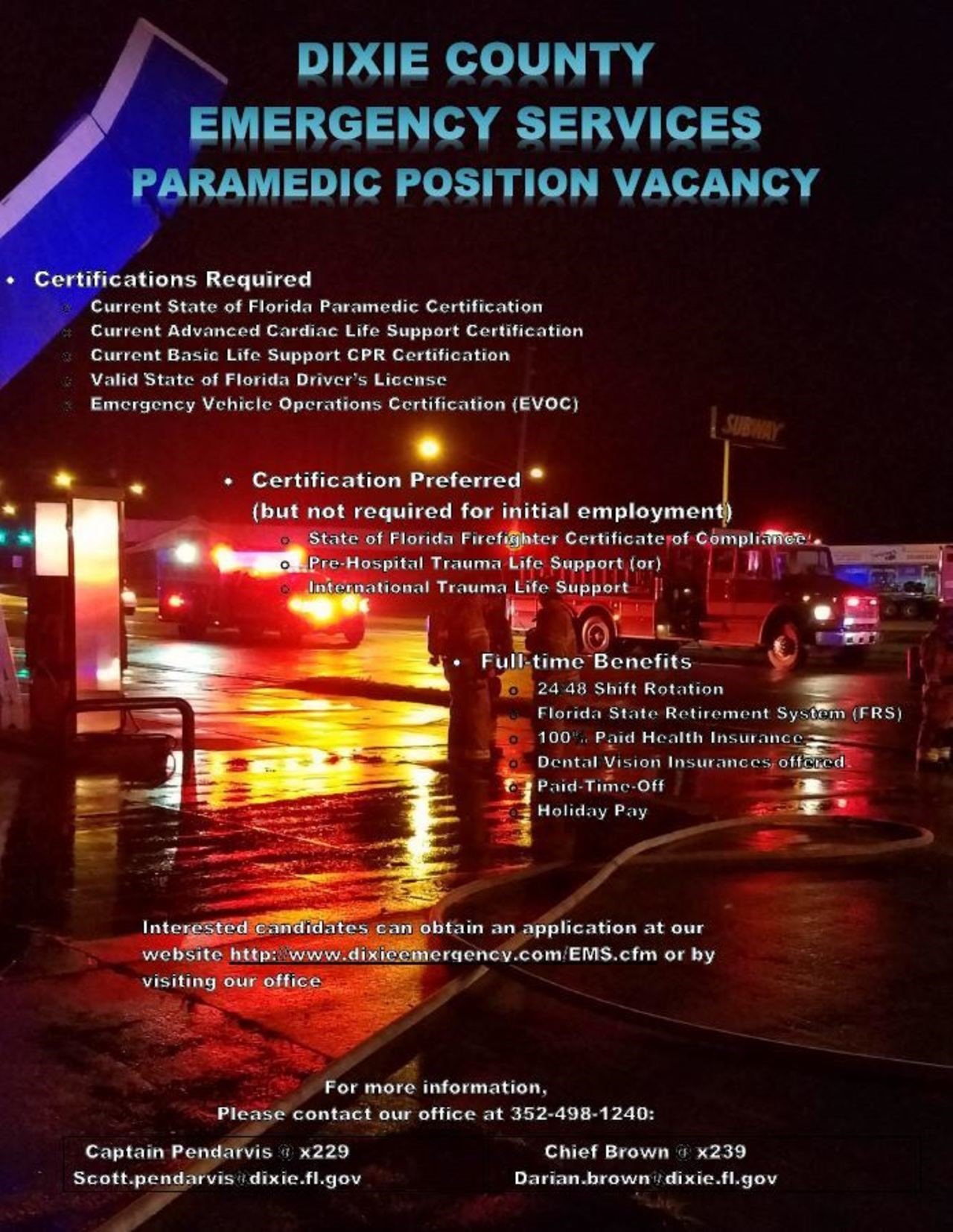 Dixie County Emergency Services Hiring Paramedic