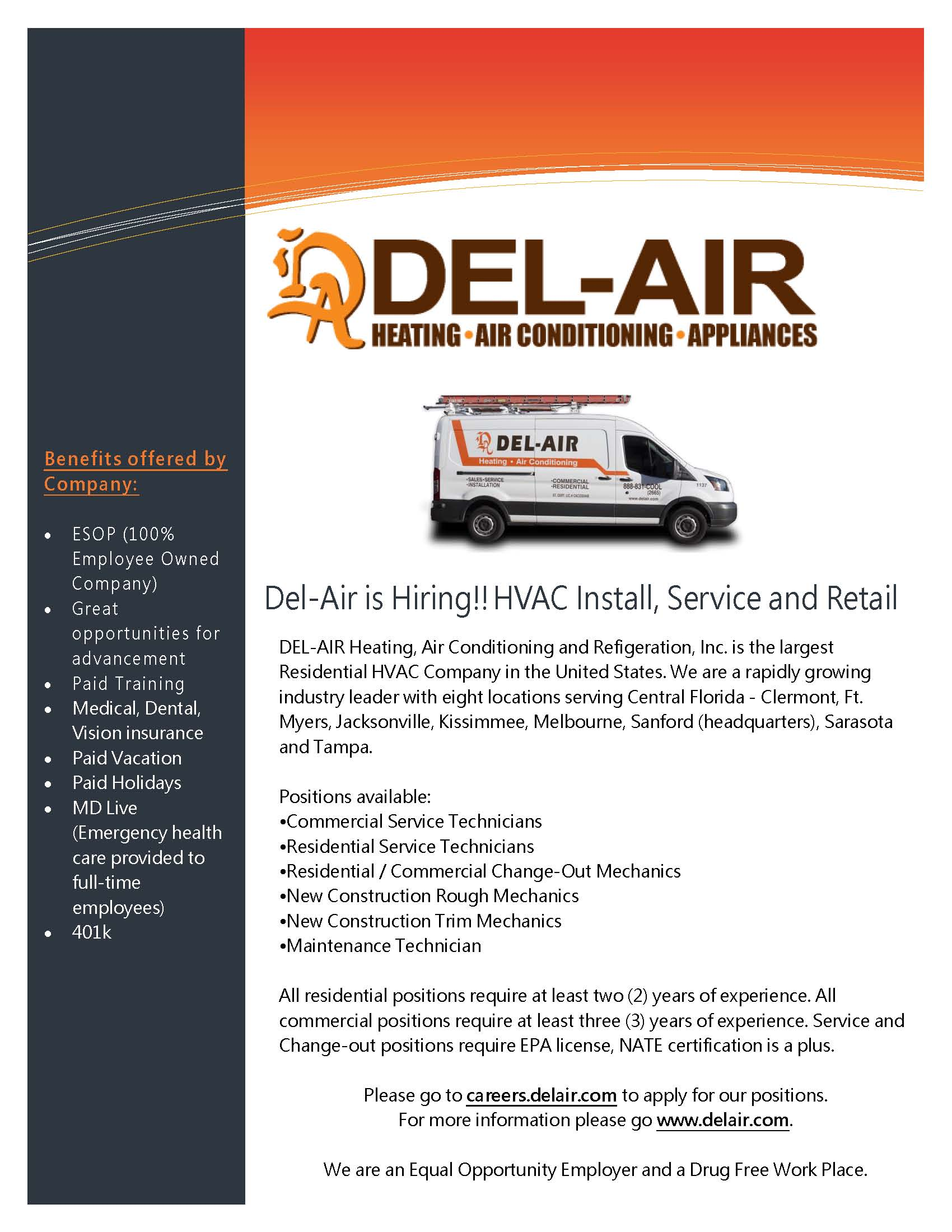 Del-Air is Hiring HVAC Install, Service, & Retail