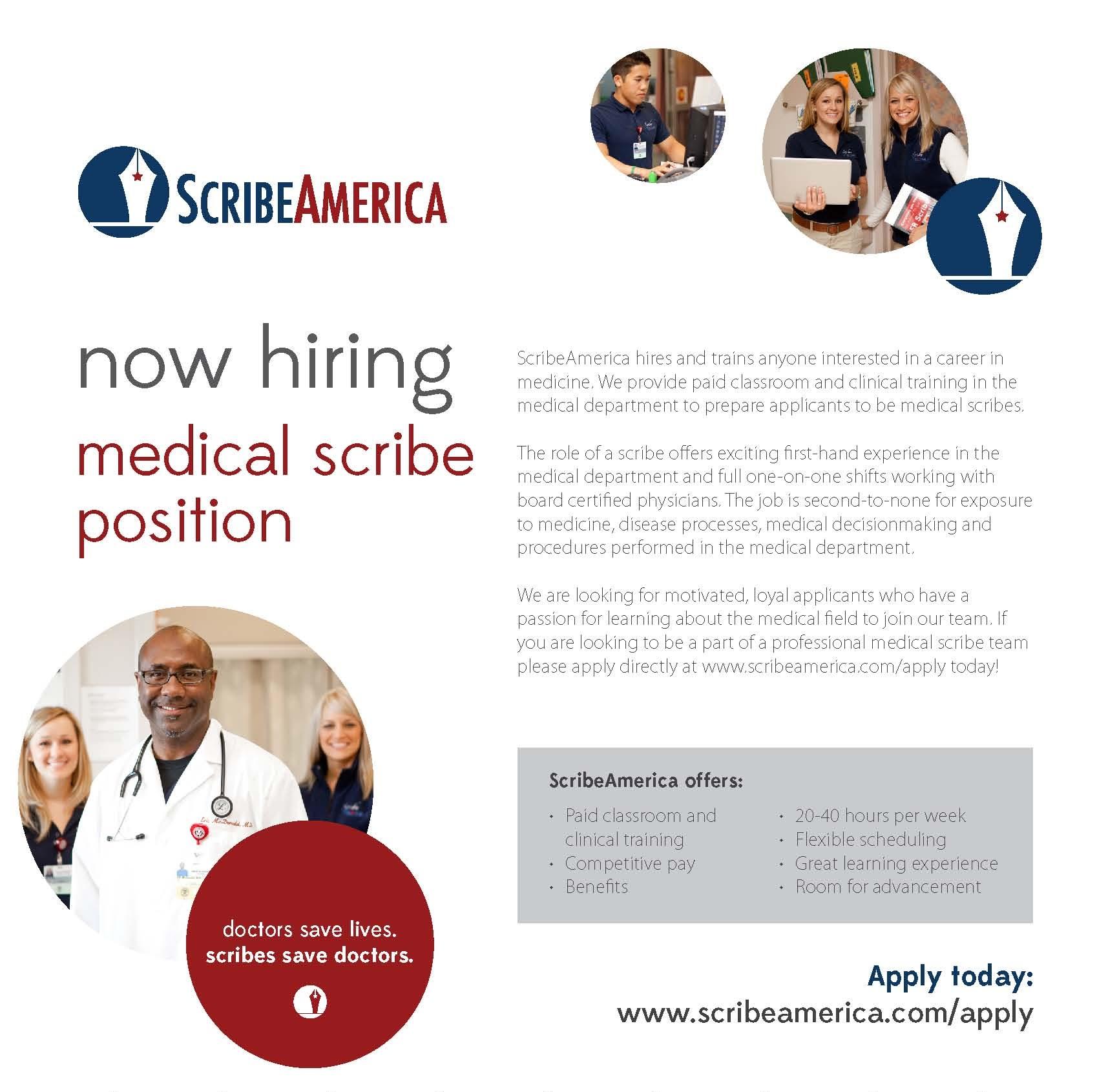 ScribeAmerica Hiring Medical Scribe