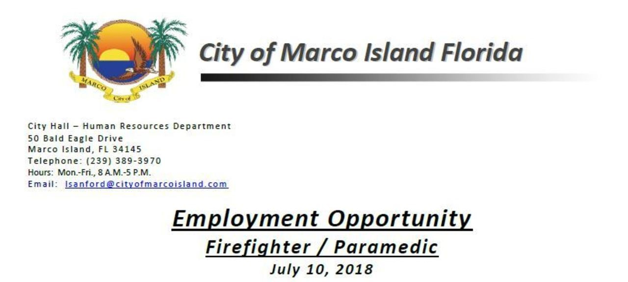 City of Marco Island Hiring FF/Paramedic