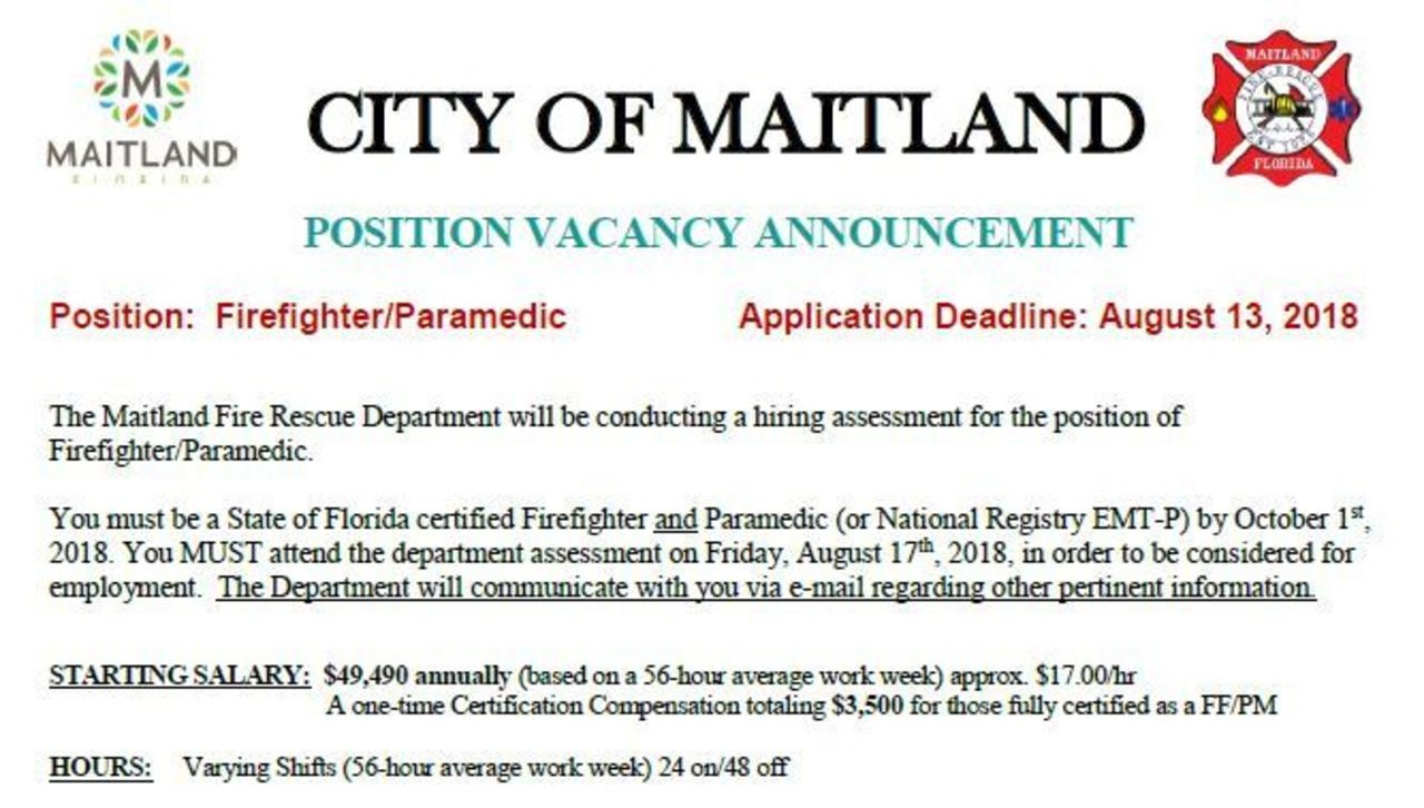 City of Maitland Hiring Firefighter/Paramedic
