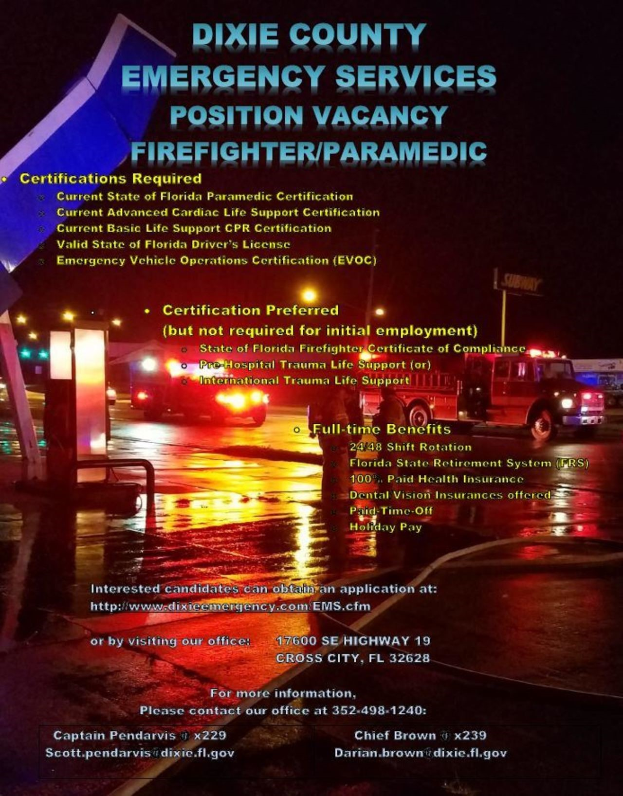 Dixie County Emergency Medical Services Hiring FF/Paramedic