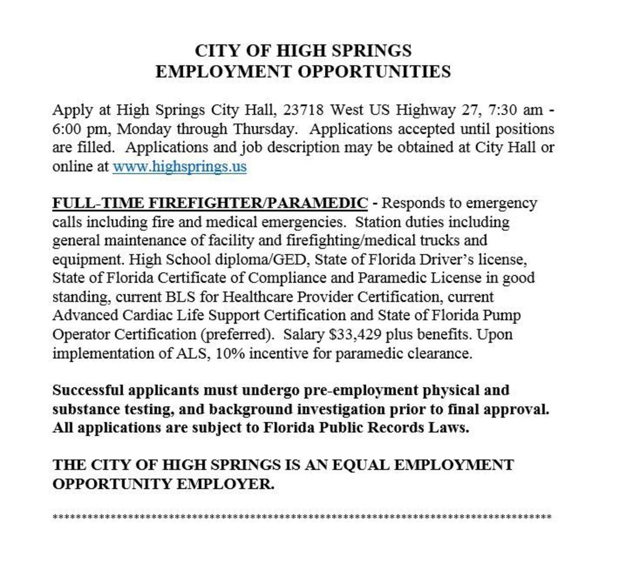 City of High Springs Hiring FF/Paramedic