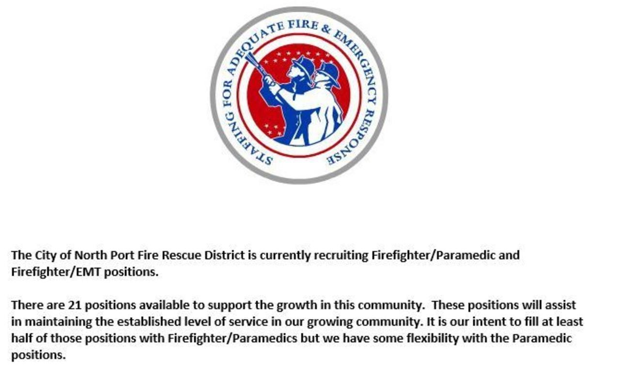 City of North Port Fire Hiring FF/Paramedic & FF/EMT
