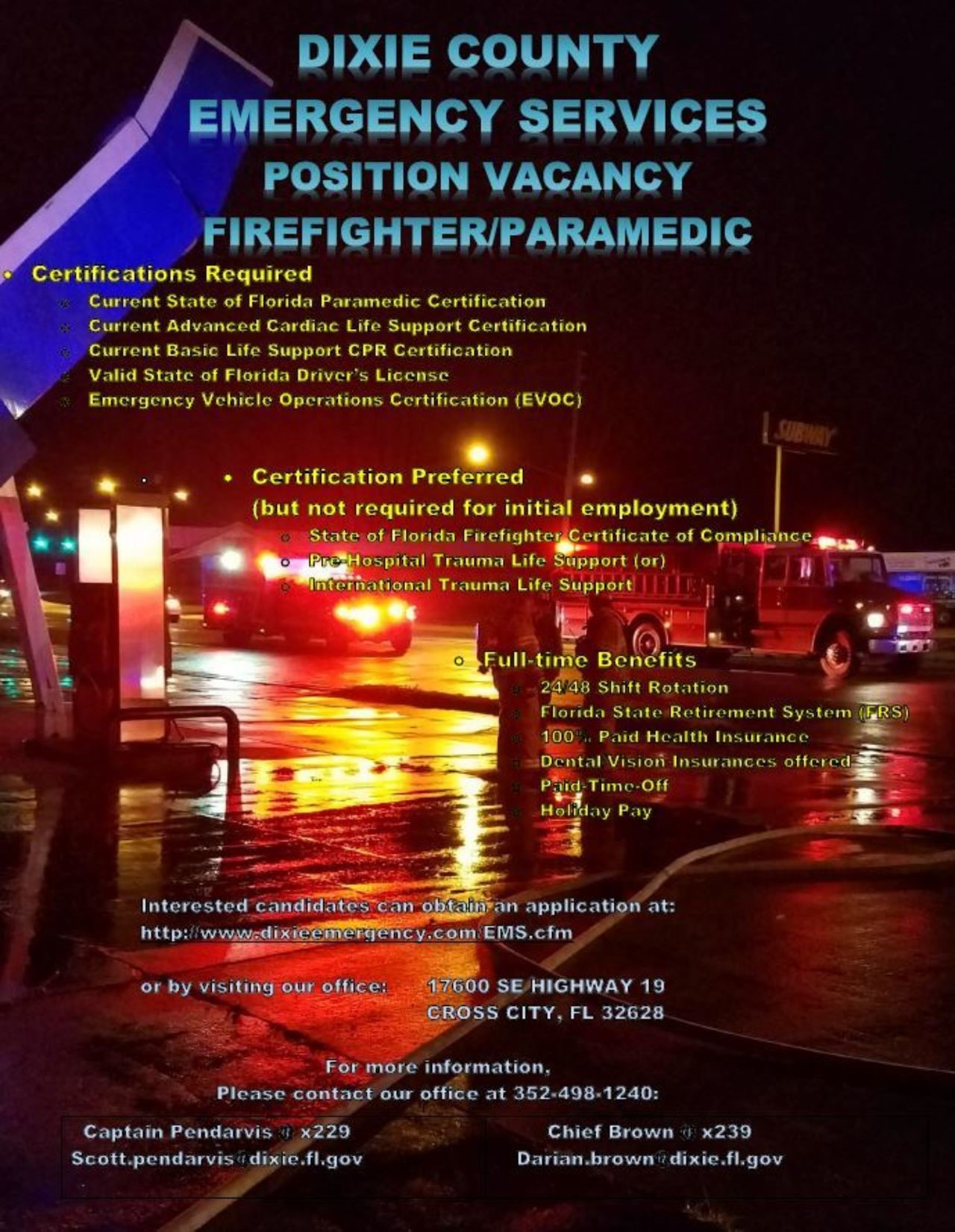 Dixie County Emergency Services Hiring FF/Paramedic