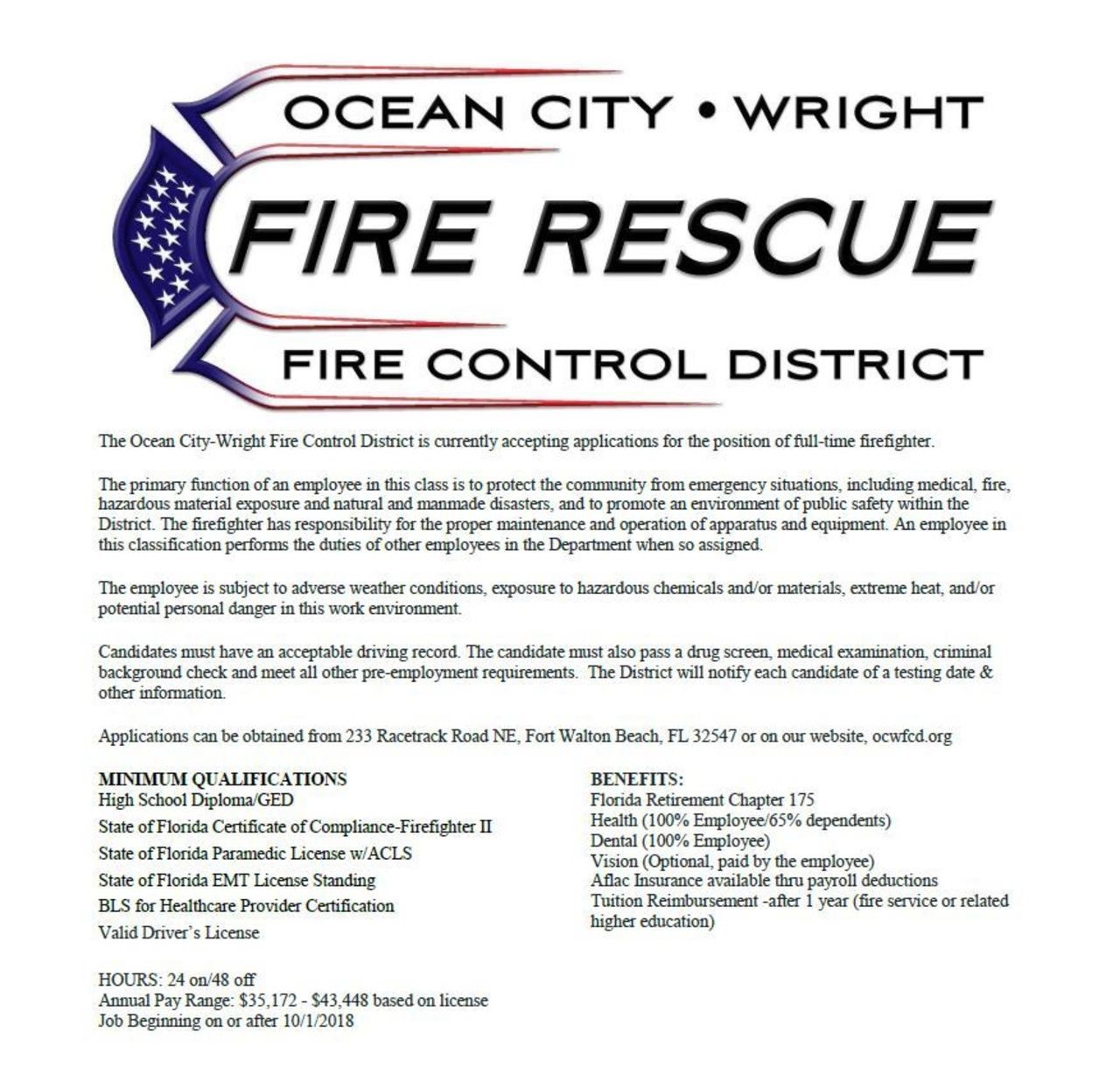 Ocean City – Wright Fire Rescue Hiring Firefighter