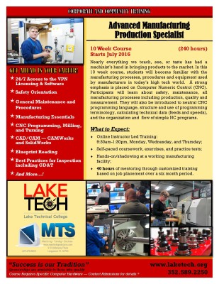 Short Term Training MTSS Course 309x400 Manufacturing