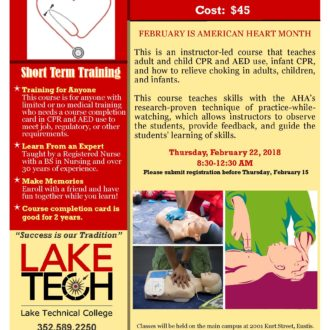 Short Term Training Heartsaver CPR AED 2017 18 330x330 Short Term Classes